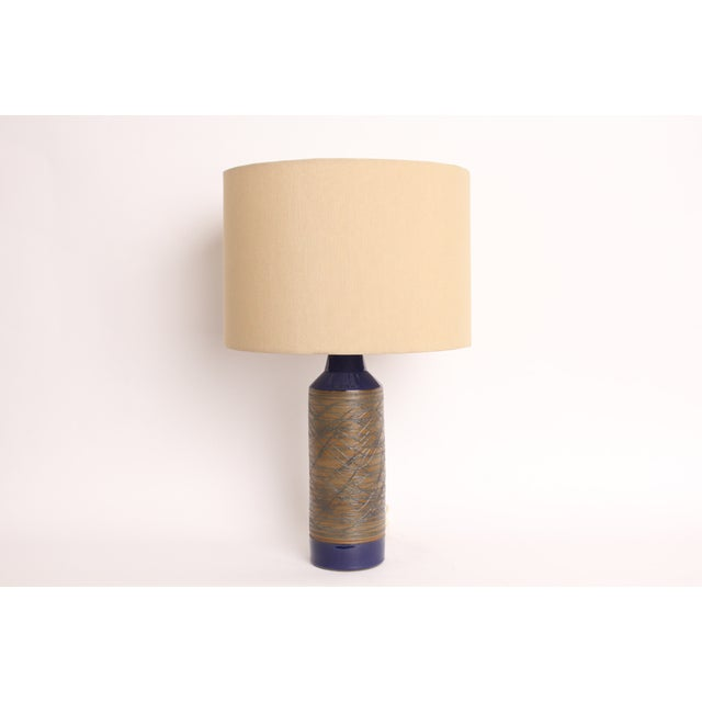 Blue and Tan Mid-Century Modern Ceramic Table Lamp - Image 2 of 5