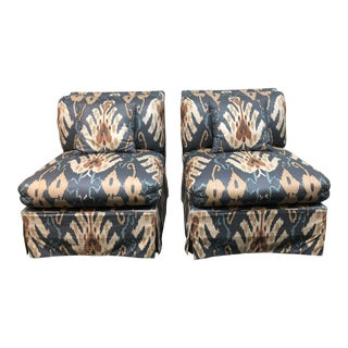 Custom Marge Carson Ikat Print Chairs - A Pair