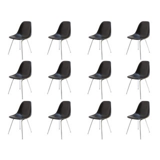 Black Fiberglass Chairs by Charles and Ray Eames for Herman Miller