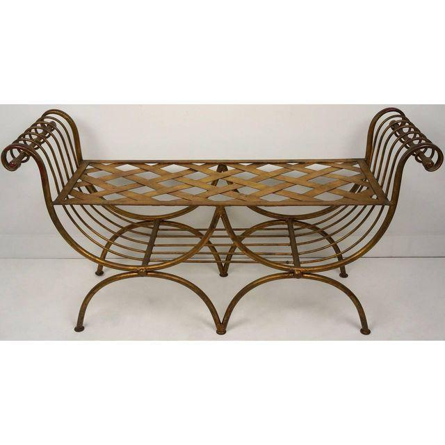 Image of Hollywood Regency Style Gold Gilt Metal Tiger Pattern Fabric Cushion Bench