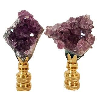 Amethyst Quartz Lamp Finials - A Pair