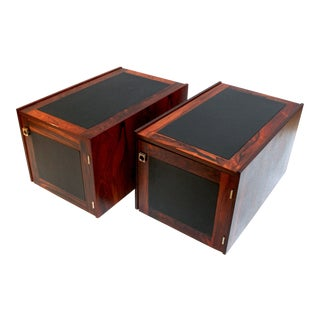 1960s Bornholm Danish Rosewood a& Leather Storage Side Tables- A Pair