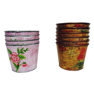 Boho Chic Metal Floral Planter Pots - Set of 10