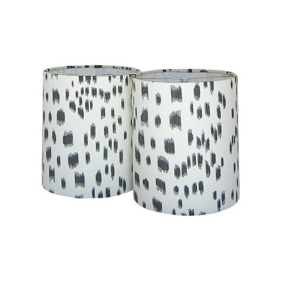 New, Made to Order, Drum Chandelier or Sconce Shades, Brunschwig & Fils Les Touches Black Animal Print Fabric, Set of Two - Image 2 of 2