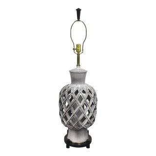 Mid-Century Ceramic Latticed Table Lamp