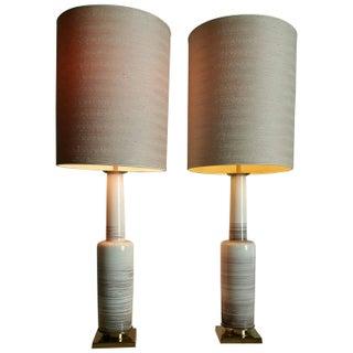 Crackle Glazed BoneCeramic Lamps by Stiffel - Pair