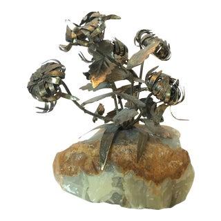 Brass & Quartz Flower Model