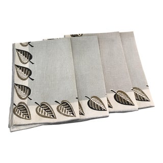 Leaf Design Vintage Linen Napkins - Set of 4