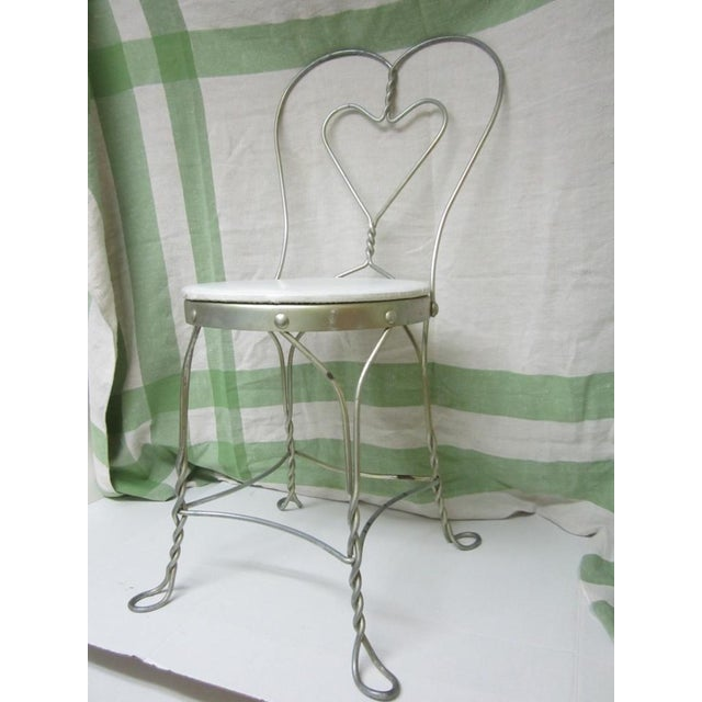 Vintage Metal Ice Cream Parlor Chair with Heart - Image 3 of 10