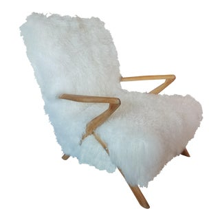 Vintage Armchair Covered in Sheepskin