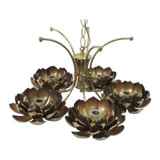 Brass Lotus 5-Arm Chandelier