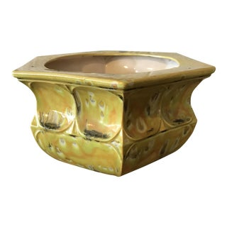 Drip Glazed Yellow Pottery Planter