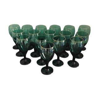 Green Water or Wine Goblets - Set of 16