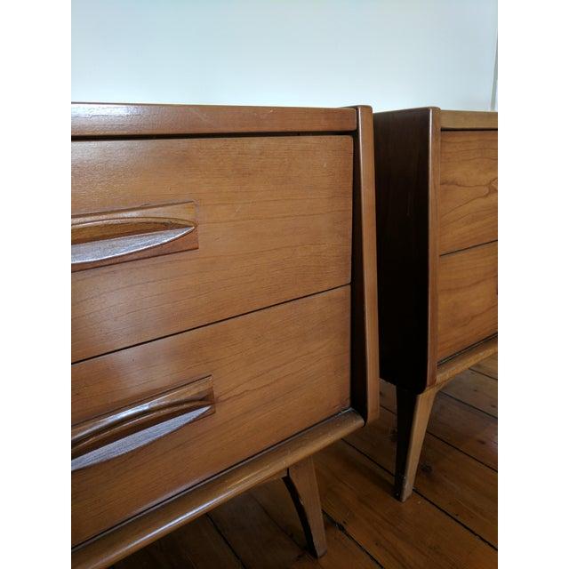 Image of Vintage Mid-Century Wood Nightstands - A Pair