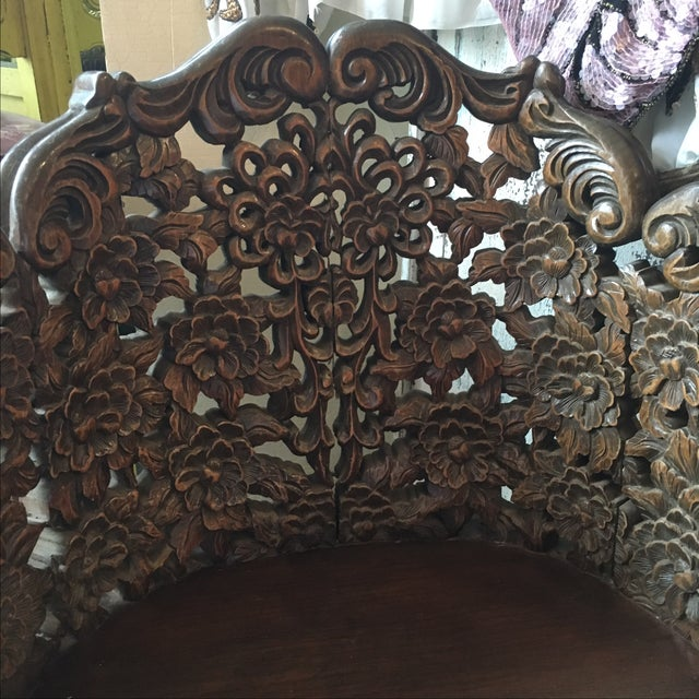 Ornately Carved Wooden Asian Accent Chair - Image 4 of 10