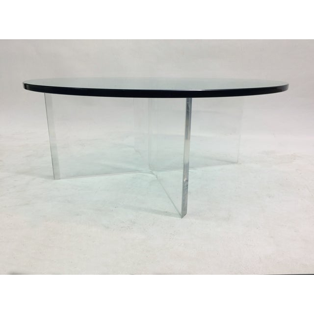 Glass Coffee Table on Bent Lucite Base - Image 3 of 6