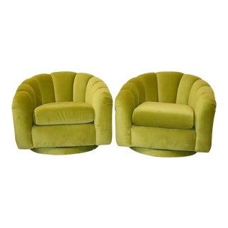 Milo Baughman Style Green Velvet Channel Swivel Chairs - a Pair