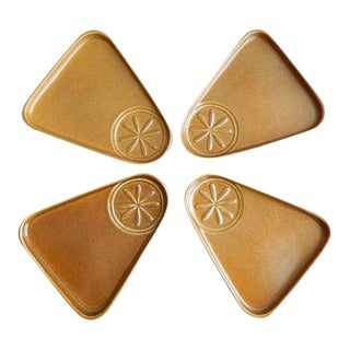 Bennington Potters Triangle Snack Plates - Set of 4