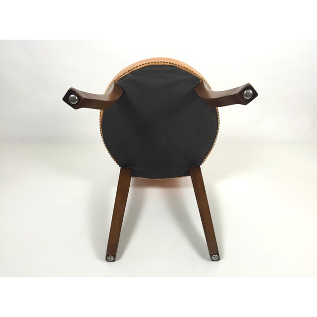 Regency Style Brass Handle Leather Chair - Image 8 of 8