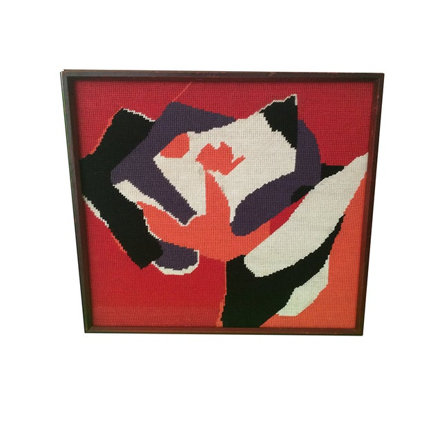 Framed Needle Point Rose Art - Image 1 of 3