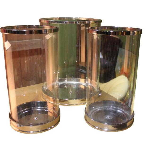 Image of Ralph Lauren Silver Hurricane Lanterns - Set of 3