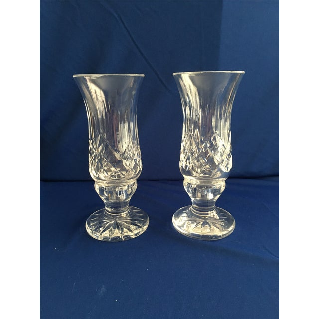 Waterford Lismore Hurricane Lamps - Pair - Image 3 of 8
