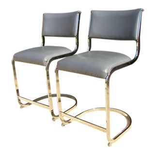 Mid-Century Chrome Cantilever Counter Stools - Pair