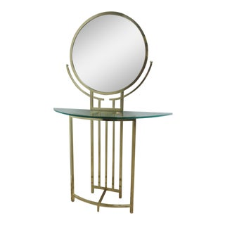 Milo Baughman Design Institute America Brass Console with Mirror