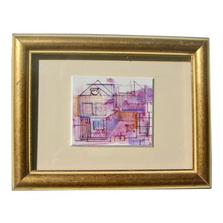Architectural Abstract Purple Watercolor Painting