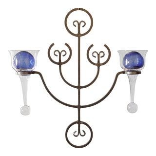 Erik Hoglund Iron & Glass Wall Hanging Candelabra Candle Holder Mid Century Swedish