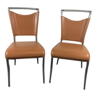 Contemporary Brushed Metal & Tan Leather Side Chairs - A Pair