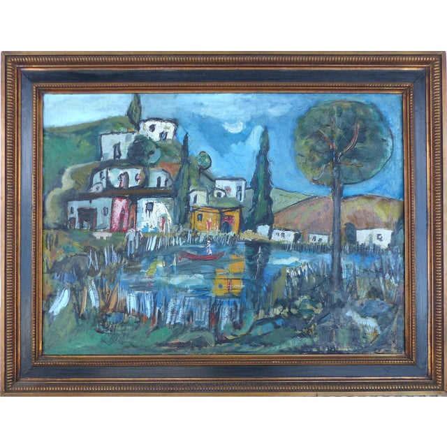 """""""Village With Pond"""" Abstract Oil Painting - Image 1 of 10"""