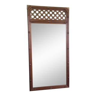 Vintage Faux Bamboo & Brass Mirror