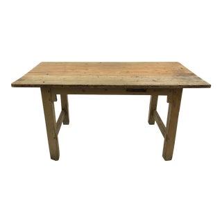 Antique English Blonde Oak Pine Table