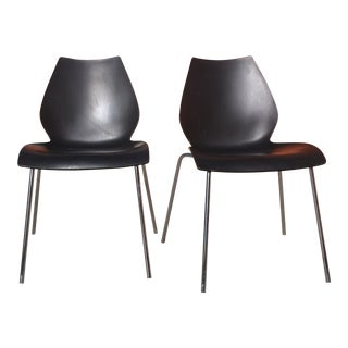 Vico Magistretti for Kartell Anthracite Maui Chairs - A Pair
