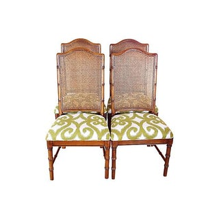 Dixie Faux Bamboo & Cane Side Chairs - Set of 4