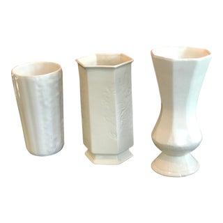 Vintage White Vases - Set of 3