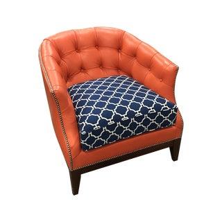 Leathercraft Peach Club Chair With Nailhead Trim