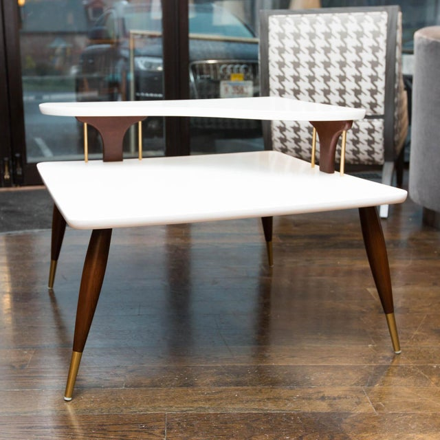 Image of Vintage Lacquered Two-Tiered Corner Table
