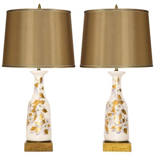 Hand-Painted Dogwood Table Lamps - A Pair