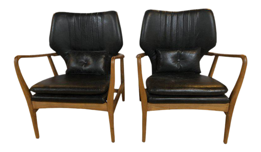 Mid Century Modern Style Arm Chairs With Black Leather Upholstery   A Pair