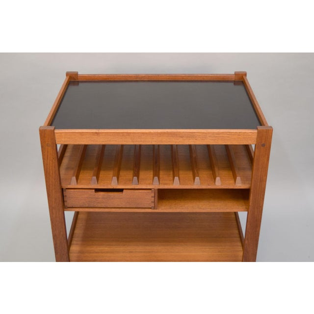 Mid-Century Teak Bar Cart With Reversible Serving Tray - Image 6 of 10