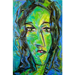 """Trixie Pitts """"Green Girl"""" Abstract Oil Painting"""