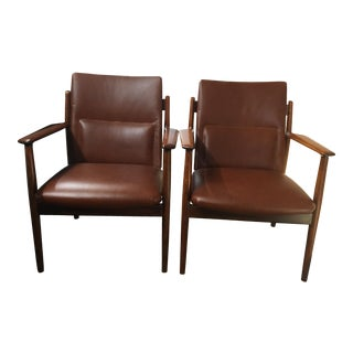Arne Vodder Rosewood and&Leather Chairs - A Pair