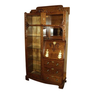 Antique Oak Display Cabinet