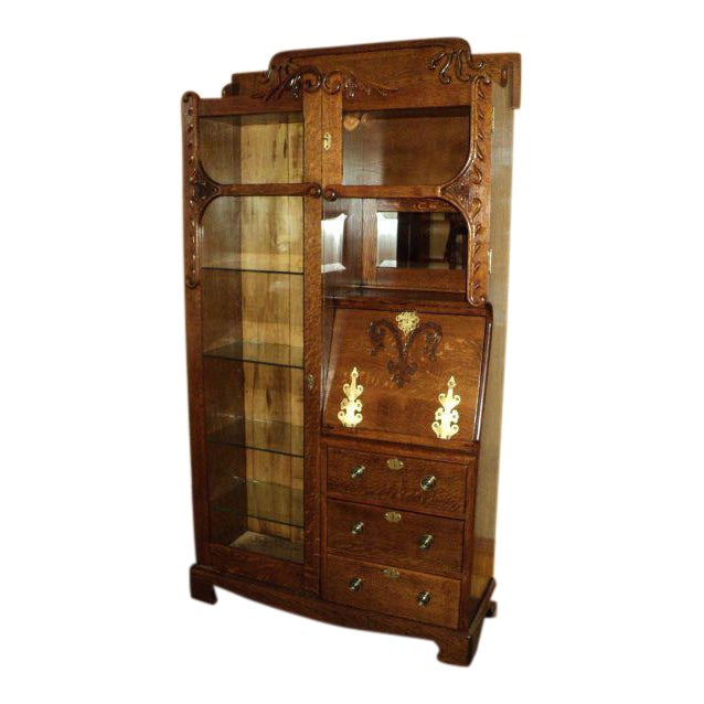 Antique Oak Display Cabinet - Image 1 of 7 - Antique Oak Display Cabinet Chairish