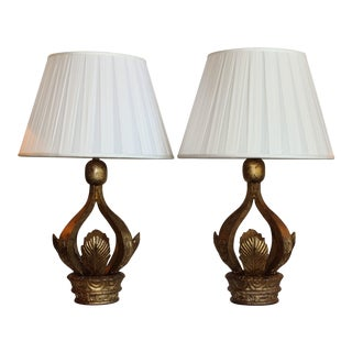 Italian Architectural Crown Table Lamps - A Pair