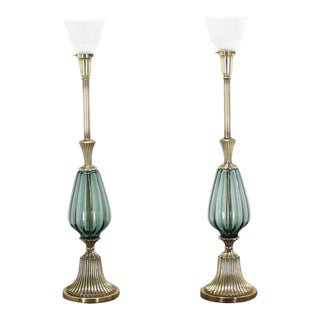 Pair of Brass and Murano Glass Style Modern Table Lamps Fluted Metal Bases