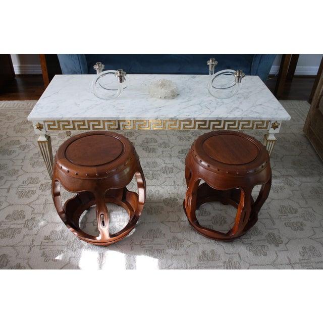 Vintage Asian Rosewood Drum Stools - A Pair - Image 3 of 11
