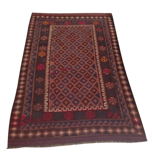 """Turkish Kilim With Hot Pink Pops - 7' X 4'1"""" - Image 1 of 6"""
